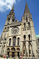 Main entrance to Chartres Cathedral, Chartres, France