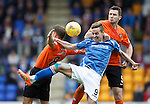 St Johnstone v Dundee United...26.09.15  SPFL   McDiarmid Park, Perth<br /> Steven MacLean battles with John Rankin and Callum Morris<br /> Picture by Graeme Hart.<br /> Copyright Perthshire Picture Agency<br /> Tel: 01738 623350  Mobile: 07990 594431