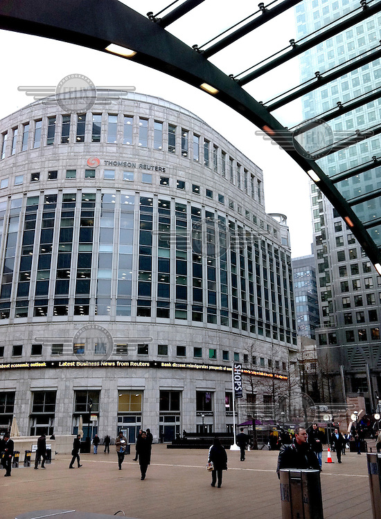 A view of office buildings from the entrance to Canary Wharf Underground station at Canary Wharf, a formerly deprived part of East London that has been regenerated since the late 1980s to become a commercial hub for banking, publishing and numerous other industries.
