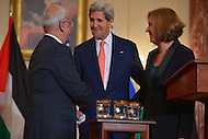 July 30, 2013  (Washington, D.C.)  U.S. Secretary of state John Kerry hosts Palestinian Chief Negotiator Dr. Saeb Erekat and Israeli Justice Minister Tzipi Livni for Middle East peace talks. (Photo by Don Baxter/Media Images International)