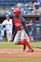 Hagerstown Suns center fielder Victor Robles (16) swings at a pitch during a game against the Asheville Tourists at McCormick Field on June 6, 2016 in Asheville, North Carolina. The Tourists defeated the Suns 12-10. (Tony Farlow/Four Seam Images)