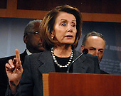 Washington, DC - November 20, 2008 -- United States Speaker of the House Nancy Pelosi (Democrat of California) makes remarks as she and other Democratic Leaders conduct a press conference in the United States Capitol on the fate of a proposed 25 billion dollar bail-out of the American Automotive Industry in Washington, D.C. on Thursday, November 20, 2008.  The leaders demanded the Big Three automakers, General Motors, Ford, and Chrysler, develop a plan assuring the money would make them economically viable before approving federal aid..Credit: Ron Sachs / CNP