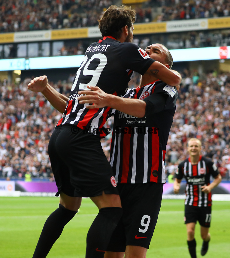 celebrate the goal, Torjubel zum 1:1 Ausgleich Bas Dost (Eintracht Frankfurt) mit Vorbereiter Goncalo Paciencia (Eintracht Frankfurt)- 01.09.2019: Eintracht Frankfurt vs. Fortuna Düsseldorf, Commerzbank Arena, 3. Spieltag<br /> DISCLAIMER: DFL regulations prohibit any use of photographs as image sequences and/or quasi-video.