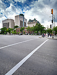 Winnipeg downtown city scenery Main street and Broadway intersection. Winnipeg, Manitoba, Canada 2017.