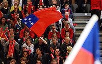 07.08.2010 Action during the Silver Ferns v Samoa netball test match played at Te Rauparaha Arena in Porirua  Wellington. Mandatory Photo Credit ©Michael Bradley.