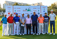 S.S.P Chawrasia, Anirban Lahiri, Shiv Kapur, Jeung-hun Wang (Asia),  Pawan Munjal (Chairman Hero), Thomas Bjorn (Rest of the World), Emilio Grillo, Andrew Johnston and Chris Woods during the Hero Skills Challenge of the Hero Indian Open at the DLF Golf and Country Club on Mondy 5th March 2018.<br /> Picture:  Thos Caffrey / www.golffile.ie<br /> <br /> All photo usage must carry mandatory copyright credit (&copy; Golffile | Thos Caffrey)