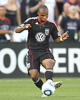 Julius James #2 of D.C. United makes a pass during an MLS match against Seattle Sounders FC at RFK Stadium on July 15 2010, in Washington DC.Seattle won 1-0.
