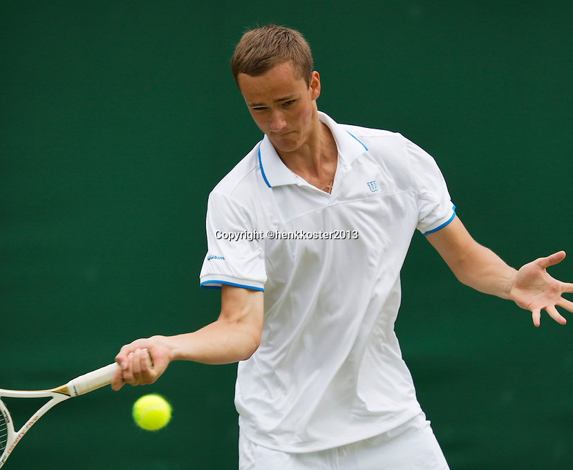 02-07-13, England, London,  AELTC, Wimbledon, Tennis, Wimbledon 2013, Day eight, Danill Medvedev (RUS)<br /> <br /> <br /> <br /> Photo: Henk Koster
