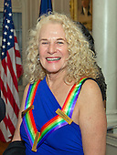 Singer-songwriter Carole King, one of the five recipients of the 38th Annual Kennedy Center Honors, smiles after posing as part of a group photo following a dinner hosted by United States Secretary of State John F. Kerry in their honor at the U.S. Department of State in Washington, D.C. on Saturday, December 5, 2015.  The 2015 honorees are: singer-songwriter Carole King, filmmaker George Lucas, actress and singer Rita Moreno, conductor Seiji Ozawa, and actress and Broadway star Cicely Tyson.<br /> Credit: Ron Sachs / Pool via CNP