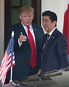 United States President Donald J. Trump welcomes Prime Minister Shinzo Abe of Japan to the White House in Washington, DC on April 26, 2019.<br /> Credit: Ron Sachs / CNP