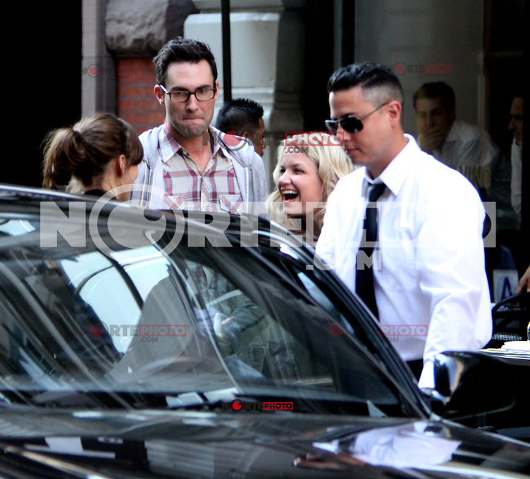 July 12, 2012  Adam Levine shooting on location for new VH-1 movie Can a Song Save Your Life? in New York City. &copy; RW/MediaPunch Inc. /*NORTEPHOTO*<br />