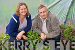 Pictured at Caherdaniel's polytunnel are Community Care Co-ordinator, Maura O'Connor and parish priest, Fr Ryan.