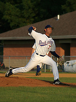August 16, 2003:  Pitcher Danny Core (7) of the Auburn Doubledays, Class-A affiliate of the Toronto Blue Jays, during a game at Falcon Park in Auburn, NY.  Photo by:  Mike Janes/Four Seam Images