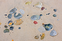 Rocks and sand on Agate Beach.  Naikoon Provincial Park. Graham Island. , Haida Gwaii (formerly the Queen Charlotte Islands), British Columbia, Canada