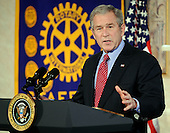 Fredericksburg, VA - December 17, 2007 -- United States President George W. Bush makes remarks on the economy to the Rotary Club of Stafford (Virginia) at the Holiday Inn in Fredericksburg, Virginia on Monday, December 17, 2007.  The President covered a wide range of issues including the mortgage crisis, energy, and the state of the economy..Credit: Ron Sachs - Pool via CNP