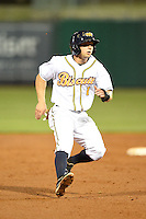Montgomery Biscuits second baseman Ryan Brett (1) runs the bases during a game against the Mississippi Braves on April 21, 2014 at Riverwalk Stadium in Montgomery, Alabama.  Montgomery defeated Mississippi 6-2.  (Mike Janes/Four Seam Images)