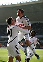Joe Allen puts the Swans two nil up<br /> Barclays Premiere League, Wolves V Swansea City, Molineux, 22/10/11<br /> Ben Wyeth / Athena Picture Agency<br /> info@athena-pictures.com
