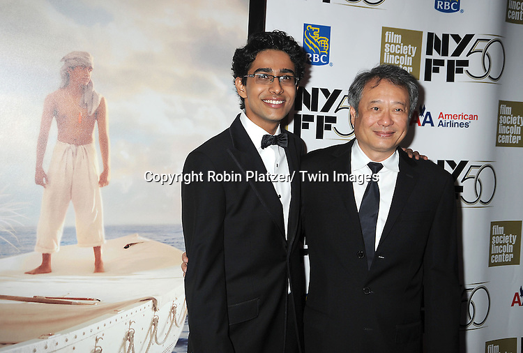 "director Ang Lee and Suraj Sharma attendsthe 50th Annual New York Film Festival Opening Night Gala presentation of ""Life of Pi"" starring Suraj Sharma and directored by Ang Lee on September 28, 2012 in New York City. The screening was at Alice Tully Hall at Lincoln Center."