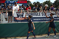 Cary, North Carolina  - Saturday June 03, 2017: Debinha, Rosana, and fans after a regular season National Women's Soccer League (NWSL) match between the North Carolina Courage and the FC Kansas City at Sahlen's Stadium at WakeMed Soccer Park. The Courage won the game 2-0.