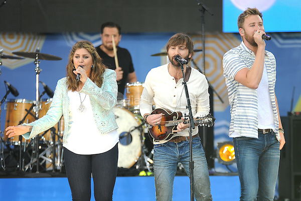 New York, NY- May 23:  Dave Haywood, Hilary Scot and Charles Kelley  of Lady Antebellum performs on Good Morning America in Central Park at Rumsey Playfield as part of the GMA 2014 Summer Concert Series on May 23, 2014 in New York City. Credit: John Palmer/MediaPunch