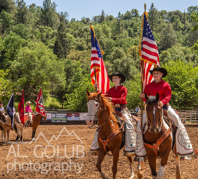 Grand Entry with Color Bearers Karissa Rogers and Mary Suess at the 62nd annual Mother Lode Round-up on Sunday, May 12, 2019 in Sonora, California.  Photo by Al Golub