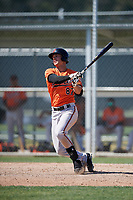 Baltimore Orioles Tristan Graham (87) follows through on a swing during a minor league Spring Training game against the Tampa Bay Rays on March 29, 2017 at the Buck O'Neil Baseball Complex in Sarasota, Florida.  (Mike Janes/Four Seam Images)