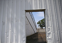 May 29, 2013; Englishtown, NJ, USA: General view of the entrance to the grandstands through a sound wall at Raceway Park. Mandatory Credit: Mark J. Rebilas-