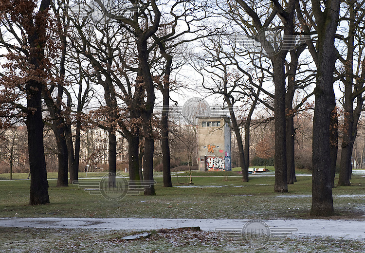 Former watchtower on the old border that separated East and West Berlin in Treptow.