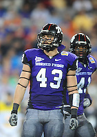 Jan. 4, 2010; Glendale, AZ, USA; TCU Horned Frogs linebacker (43) Tank Carder against the Boise State Broncos in the 2010 Fiesta Bowl at University of Phoenix Stadium. Boise State defeated TCU 17-10. Mandatory Credit: Mark J. Rebilas-