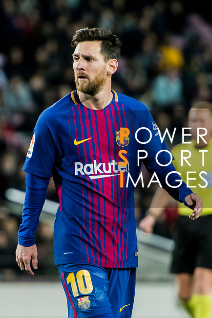 Lionel Andres Messi of FC Barcelona looks on during the Copa Del Rey 2017-18 Round of 16 (2nd leg) match between FC Barcelona and RC Celta de Vigo at Camp Nou on 11 January 2018 in Barcelona, Spain. Photo by Vicens Gimenez / Power Sport Images