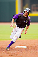 Daniel Wagner #5 of the Winston-Salem Dash rounds second base during the game against the Potomac Nationals at BB&T Ballpark on April 25, 2012 in Winston-Salem, North Carolina.  The Dash defeated the Nationals 14-0.  (Brian Westerholt/Four Seam Images)