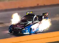 Oct 18, 2019; Ennis, TX, USA; NHRA funny car driver Shawn Langdon during qualifying for the Fall Nationals at the Texas Motorplex. Mandatory Credit: Mark J. Rebilas-USA TODAY Sports