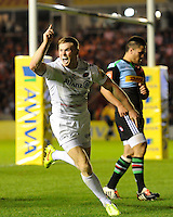 Chris Ashton of Saracens celebrates scoring a try during the Premiership Rugby Round 2 match between Harlequins and Saracens at The Twickenham Stoop on Friday 12th September 2014 (Photo by Rob Munro)
