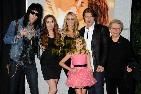 "THE CYRUS FAMILY  - Trace Cyrus, Brandi Cyrus, Leticia ""Tish"" Cyrus, Noah Cyrus, Billy Ray Cyrus & Loretta Finley.""The Last Song"" World Premiere held at Arclight Cinemas, Hollywood, California, USA, 25th March 2010..arrivals half length married husband wife son daughters sister brother parents father dad mum mom mother black suit white shirt pink dress denim jacket sunglasses tattoos shirt glasses .CAP/ADM/BP.©Byron Purvis/AdMedia/Capital Pictures."