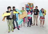 OrigamiUSA 2016 Convention at St. John's University, Queens, New York, USA. Oversized 9' x 9' paper folding event. First timers. Left to right: Uyen Nguyen, NY, Lorne Dannenbaum, NY, Daniel Cohen, NY, Kika Salgo (front), NY, Ben Fritzson (middle under model), PA, Doug Caine (back), NY, Maria Abada, NJ, Sandrine Villegas, Columbia.
