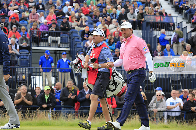 Graeme McDOWELL (NIR) and caddy Ken Comboy walk off the 17th tee during Monday's Final Round of the 144th Open Championship, St Andrews Old Course, St Andrews, Fife, Scotland. 20/07/2015.<br /> Picture Eoin Clarke, www.golffile.ie