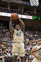 February 24, 2012:   Jacksonville Dolphins center Glenn Powell (42) goes up for a rebound during Atlantic Sun Conference action between the Jacksonville Dolphins and the North Florida Ospreys at Veterans Memorial Arena in Jacksonville, Florida. North Florida defeated Jacksonville 70-64.