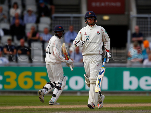 01.09.2016. Old Trafford, Manchester, England. Specsavers County Championship. Lancashire versus Somerset.  Lancashire's young opening pair of  Haseeb Hamed (left) and Rob Jones run between the wickets. At tea, Lancashire had reached 57-0 in response to Somerset's first innings score of 553-8.