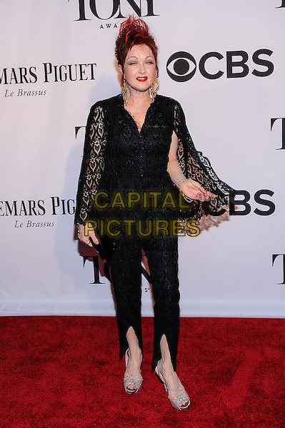 Cyndi Lauper<br /> 67th Annual Tony Awards, New York, New York, USA.<br /> June 9th, 2013<br /> full length black lace dress red top trousers slit split dyed hair<br /> CAP/ADM/MSA<br /> &copy;Mario Santoro/AdMedia/Capital Pictures