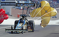 Apr. 5, 2009; Las Vegas, NV, USA: NHRA top fuel dragster driver Tony Schumacher after winning the Summitracing.com Nationals at The Strip in Las Vegas. Mandatory Credit: Mark J. Rebilas-
