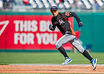 3 April 2017: Miami Marlins outfielder Ichiro Suzuki warms up on the base path prior to facing the Washington Nationals on Opening Day at Nationals Park in Washington, DC. The Nationals defeated the Marlins 4-2 to open the 2017 MLB Season. Mandatory Credit: Ed Wolfstein Photo *** RAW (NEF) Image File Available ***