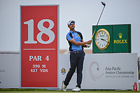 Sadom KAEWKANJANA (THA) watches his tee shot on 18 during Rd 3 of the Asia-Pacific Amateur Championship, Sentosa Golf Club, Singapore. 10/6/2018.<br /> Picture: Golffile | Ken Murray<br /> <br /> <br /> All photo usage must carry mandatory copyright credit (© Golffile | Ken Murray)