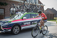 Peter Sagan (SVK/Tinkoff) not taking racing seriously all the time... <br /> car window just closed in time<br /> <br /> 12th Eneco Tour 2016 (UCI World Tour)<br /> stage 3: Blankenberge-Ardooie (182km)