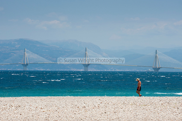 Rio-Antirrio bridge viewed from a beach in Patras, Greece