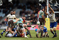 Dave Lewis of Harlequins box-kicks the ball. Aviva Premiership match, between Harlequins and Bath Rugby on March 2, 2018 at the Twickenham Stoop in London, England. Photo by: Patrick Khachfe / Onside Images