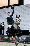 Nathaniel Chan of Hong Kong riding Lay Your Love On Z celebrates winning the HKJC Junior Trophy during the Longines Masters of Hong Kong at AsiaWorld-Expo on 11 February 2018, in Hong Kong, Hong Kong. Photo by Diego Gonzalez / Power Sport Images