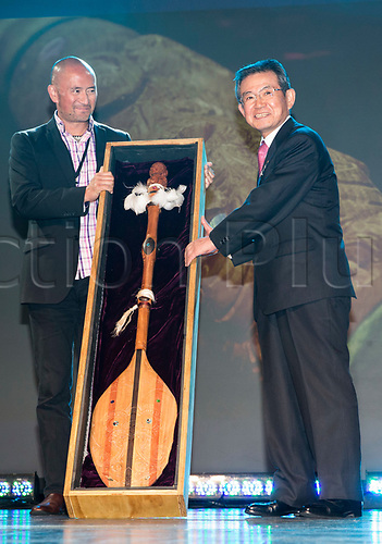 April 30th 2017, Auckland, New Zealand; Closing Ceremony of the World Masters Games; WMG2021 chairman Shosuke Mori  is presented with a carved Waka paddle during the closing ceremony of the World Masters Games 2017 held at The Cloud on Auckland's waterfront