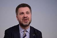 Roma, 24 Marzo 2016<br /> Conferenza stampa dei sindacati al termine dell'incontro straordinario ospitato a Palazzo Chigi tra le Parti sociali europee e le Istituzioni Ue.<br /> Luca Visentini segretario della confederazione europea dei sindacati (CES).