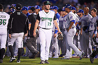 Dayton Dragons relief pitcher Conor Krauss (29) walks away from the field after hitting Matt Rose (not shown) with a pitch that started a small scuffle during a game against the South Bend Cubs on May 11, 2016 at Fifth Third Field in Dayton, Ohio.  South Bend defeated Dayton 2-0.  (Mike Janes/Four Seam Images)