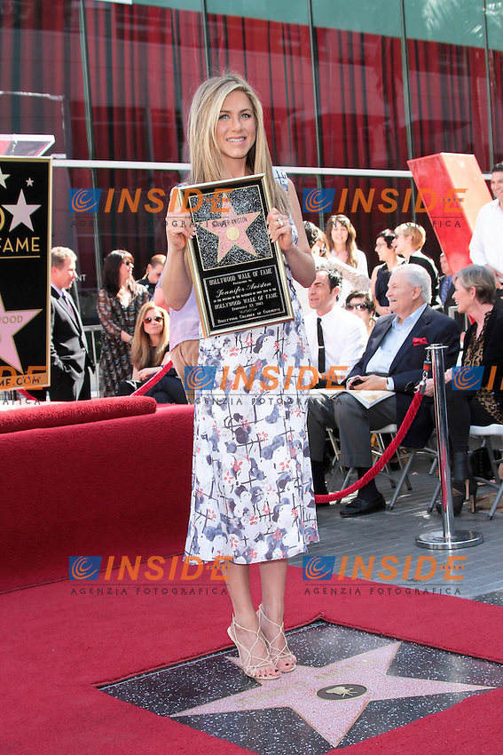 Jennifer Aniston.22/02/2012 Hollywood.Jennifer Aniston Honored with a Star on the Hollywood Walk of Fame on February 22, 2012 .Stella sulla Hollywood walk of fame per Jennyfer Aniston.Foto Insidefoto / Andrew Evans / PrPrhotos